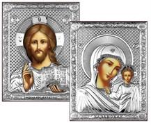 Венчальная пара, серебряные иконы, лик шелкография (Казанская)