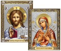 Венчальная пара, серебряные иконы с позолотой и цветной эмалью, лик шелкография (Семистрельная)