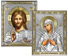 Венчальная пара, серебряные иконы с позолотой, лик шелкография (Семистрельная)