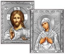 Венчальная пара, серебряные иконы, лик шелкография (Семистрельная)