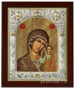 Казанская Божья Матерь, икона 14х17 см, шелкография, серебряный оклад, золочение, кристаллы Swarovski