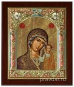 Казанская Божья Матерь, икона 14х17 см, шелкография, серебряный оклад, золочение, цветная эмаль, кристаллы Swarovski