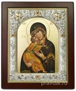 Владимирская Божья Матерь, икона 14х17 см, шелкография, серебряный оклад, золочение, кристаллы Swarovski