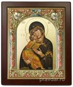 Владимирская Божья Матерь, икона 14х17 см,шелкография, серебряный оклад, золочение, цветная эмаль, кристаллы Swarovski