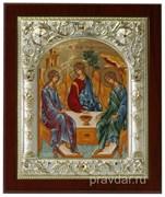 Святая Троица, икона 14х17 см, шелкография, серебряный оклад, золочение+, кристаллы Swarovski