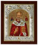 Николай Чудотворец, икона 14х17 см, шелкография, серебряный оклад, золочение, кристаллы Swarovski