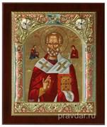 Николай Чудотворец, икона 14х17 см, шелкография, серебряный оклад, золочение, цветная эмаль, кристаллы Swarovski