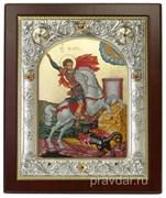 Георгий Победоносец, икона 14х17 см, шелкография, серебряный оклад, золочение, кристаллы Swarovski