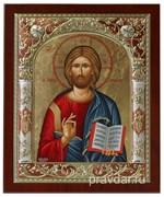 Спас Премудрый, икона 24х29 см, шелкография, серебряный оклад, золочение, цветная эмаль (красный), кристаллы Swarovski