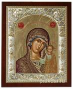 Казанская Божья Матерь, икона 24х29 см, шелкография, серебряный оклад, золочение, кристаллы Swarovski