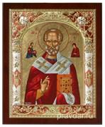 Николай Чудотворец, икона 24х29 см, шелкография, серебряный оклад, золочение, цветная эмаль (красный), кристаллы Swarovski