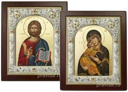 Венчальная пара, иконы 14х17 см, шелкография, серебряный оклад, золочение, кристаллы Swarovski (Владимирская)