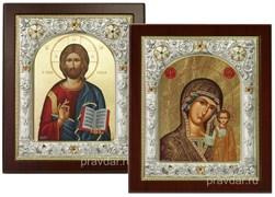Венчальная пара, иконы 24х29 см, шелкография, серебряный оклад, золочение, кристаллы Swarovski (Казанская)