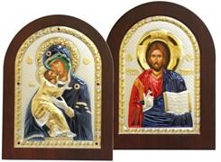 Венчальная пара, греческие иконы, серебряный оклад с золочением и эмалью (Владимирская)