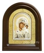 Казанская Божья Матерь, серебряная икона в деревянном киоте, золочение