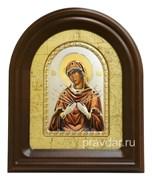 Семистрельная Божья Матерь, серебряная икона в деревянном киоте, золочение, цветная эмаль