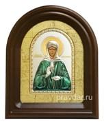 Матрона Московская, серебряная икона в деревянном киоте, золочение, цветная эмаль