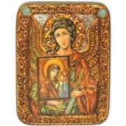 Ангел Хранитель c Богородицей икона на мореном дубе 20 см и 29 см.