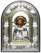 Спас Премудрый, греческая икона шелкография, серебряный оклад с виноградной лозой, рамка в коже.