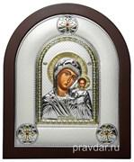 Казанская Божья Матерь, греческая икона шелкография, серебряный оклад