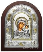 Казанская Божья Матерь, греческая икона шелкография, серебряный оклад с виноградной лозой