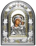 Казанская Божья Матерь, греческая икона шелкография, серебряный оклад с виноградной лозой, рамка в коже