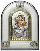 Вифлеемская Божья Матерь, греческая икона шелкография, серебряный оклад, рамка в коже