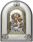 Иерусалимская Божья Матерь, греческая икона шелкография, серебряный оклад, рамка в коже