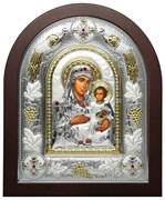 Иерусалимская Божья Матерь, греческая икона шелкография, серебряный оклад с виноградной лозой