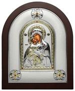 Владимирская Божья Матерь, греческая икона шелкография, серебряный оклад