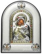 Владимирская Божья Матерь, греческая икона шелкография, серебряный оклад, рамка в коже