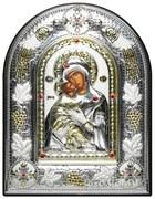Владимирская Божья Матерь, греческая икона шелкография, серебряный оклад с виноградной лозой, рамка в коже