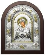 Семистрельная Божья Матерь, греческая икона шелкография, серебряный оклад с виноградной лозой