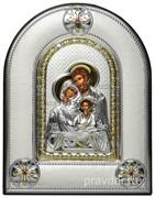 Святое Семейство, греческая икона шелкография, серебряный оклад, рамка в коже