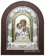 Святое Семейство, греческая икона шелкография, серебряный оклад с виноградной лозой