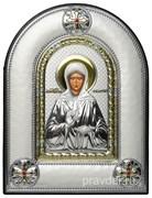 Матрона Московская, греческая икона шелкография, серебряный оклад, рамка в коже