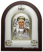 Николай Чудотворец, греческая икона шелкография, серебряный оклад