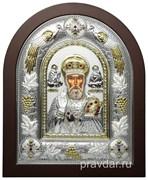 Николай Чудотворец, греческая икона шелкография, серебряный оклад с виноградной лозой