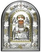 Николай Чудотворец, греческая икона шелкография, серебряный оклад с виноградной лозой, рамка в коже