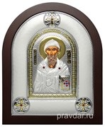 Спиридон Тримифунтский, греческая икона шелкография, серебряный оклад