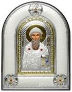 Спиридон Тримифунтский, греческая икона шелкография, серебряный оклад, рамка в коже