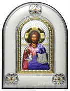 Спас Премудрый, греческая икона шелкография, серебряный оклад, цветная эмаль, рамка в коже