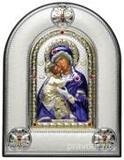 Владимирская Божья Матерь, греческая икона шелкография, серебряный оклад, цветная эмаль, рамка в коже