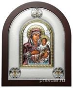 Иерусалимская Божья Матерь, греческая икона шелкография, серебряный оклад, цветная эмаль