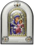 Вифлеемская Божья Матерь, греческая икона шелкография, серебряный оклад, цветная эмаль, рамка в коже