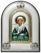 Матрона Московская, греческая икона шелкография, серебряный оклад, цветная эмаль, рамка в коже