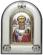 Николай Чудотворец, греческая икона шелкография, серебряный оклад, цветная эмаль, рамка в коже
