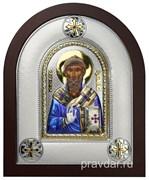 Спиридон Тримифунтский, греческая икона шелкография, серебряный оклад, цветная эмаль