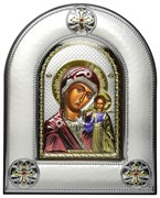 Казанская Божья Матерь, серебряная икона в киоте со стеклом, цветная эмаль