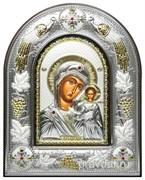 Казанская Божья Матерь, серебряная икона в киоте со стеклом, виноградная лоза